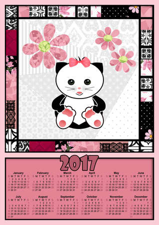 flower age: Illustration calendar for 2017 in kids design with toy cute cat kitten