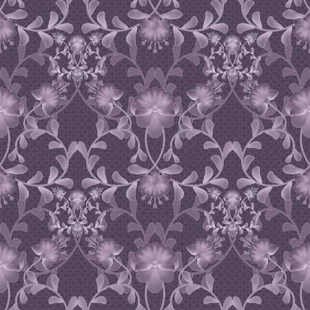 gzhel: Floral seamless pattern with flowers texture gzhel on purple background