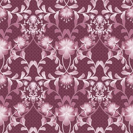 gzhel: Floral seamless pattern with flowers texture gzhel on red background