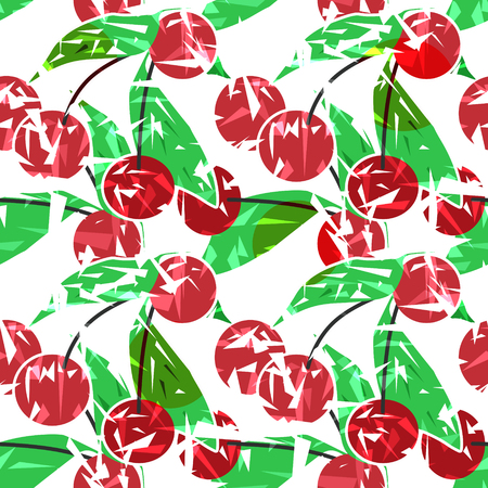 tasteful: Modern fresh seamless pattern with cherries. Repeating bright stylized print