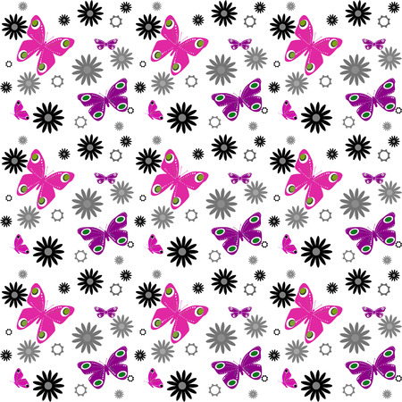 butterfly background: Butterfly on white background seamless pattern