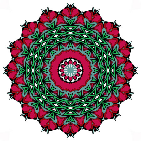 grren: Mandala with geometric elements. Ethnic mandala with colorful ornament. Isolated. Red, green, denim blue colors. Stock Photo