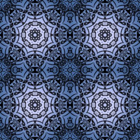 lacework: Lace black seamless pattern, colors elegant print blue background