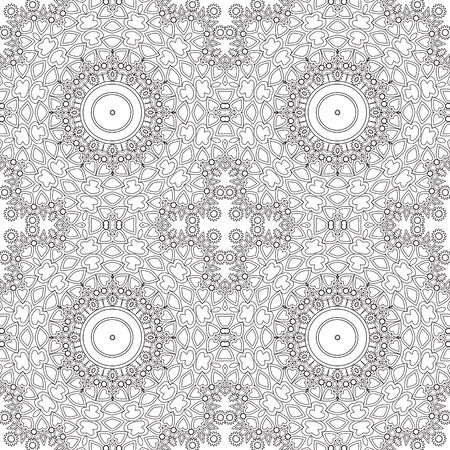 vitrage: Glass vitrage mosaic kaleidoscopic seamless pattern, coloring page