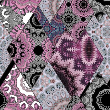 Abstract paisley ornament. Seamless pattern kaleidoscopic orient patchwork style Stock Photo