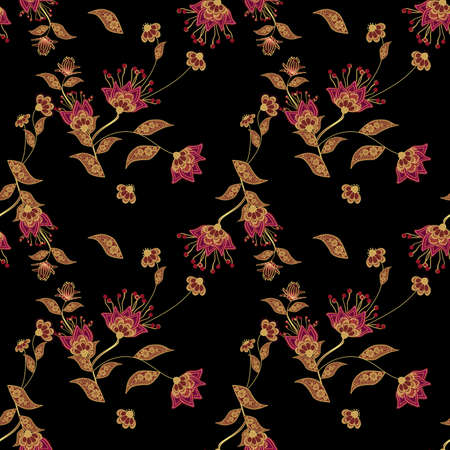 decorative patterns: Seamless floral pattern background, flowers ornament wallpaper textile Illustration Stock Photo