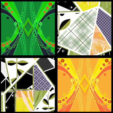 wed beauty: Seamless patchwork design geometrical pattern with elements print