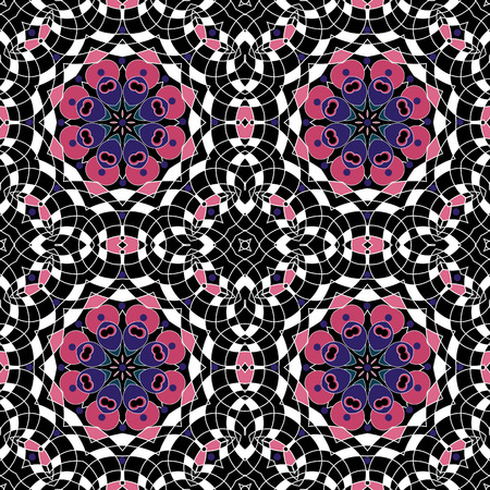Glass vitrage mosaic kaleidoscopic seamless pattern background