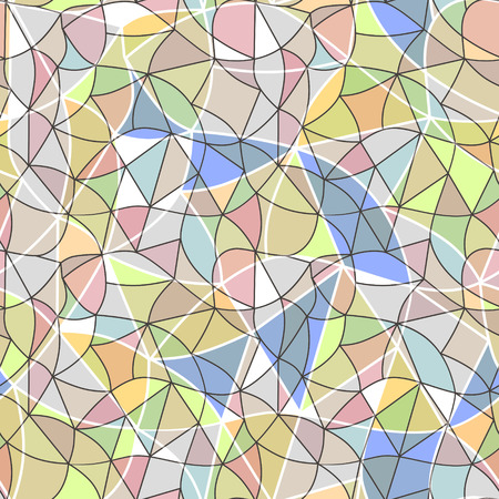 vitrage: Glass vitrage mosaic kaleidoscopic seamless pattern background soft pastel colors Stock Photo
