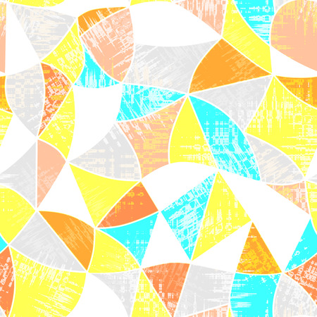 vitrage: Glass vitrage mosaic kaleidoscopic seamless pattern background bright colors Stock Photo