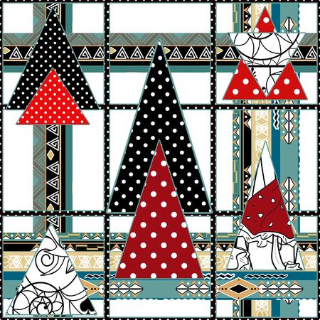 Retro scandinavian seamless pattern patchwork quilt design