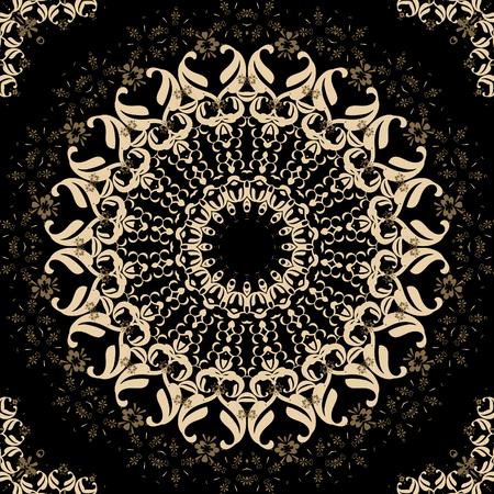 dark brown background: Folk ornamental textile seamless kaleidoscopic pattern print dark brown background