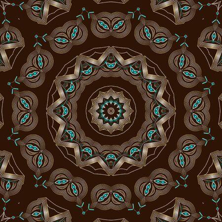 Folk ornamental textile seamless kaleidoscopic pattern elegant print background