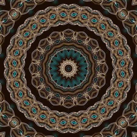 Seamless antique kaleidoscopic pattern ornament. Geometric background design repeating texture. Stock Photo