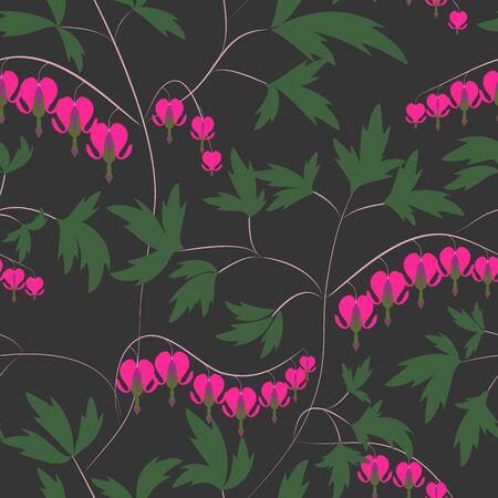 """hemorragias: Sin fisuras patrón de fondo floral flores ornamento papel tapiz textil """"corazón sangrante"""" dicentra"""