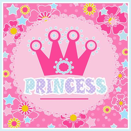 Princess background with Crown illustration in pink colors Stock Photo