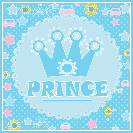 Prince background with Crown illustration in blue colors