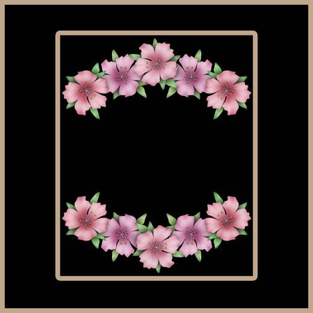 azalea: Flower frame. Floral border or card. Bouquet of pink azalea background with space for text