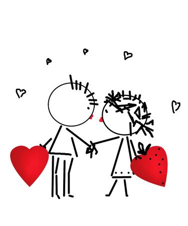 Valentines Day kiss, cartoon romantic people in love illustration Standard-Bild