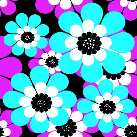 Seamless simple cartoon pattern with flowers backgound Stock Photo