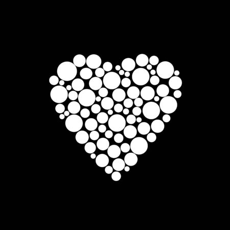 Illustration of white elements heart, Valentines Day print on black Stock Photo