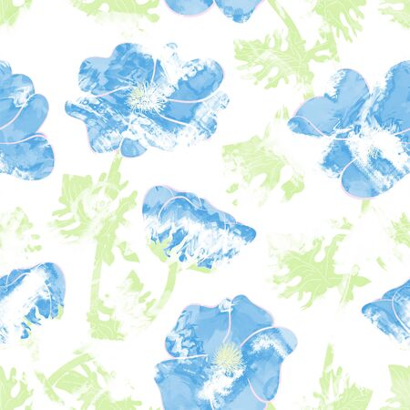 contrast floral: Floral seamless pattern with flowers, romantic print white background Stock Photo