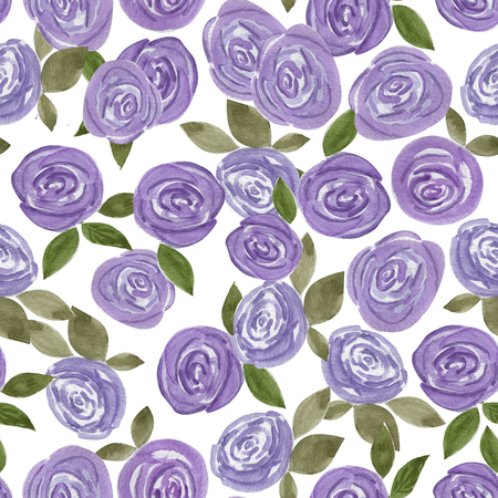 voilet: Seamless watercolor flowers roses pattern on white background