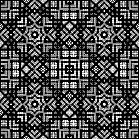 royal: Seamless abstract ornamental pattern on black background Stock Photo