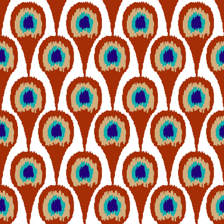 Seamless ornament pattern peacock feather design background Stock Photo