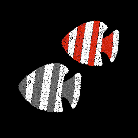 Illustration fishes in abstract circles modern design