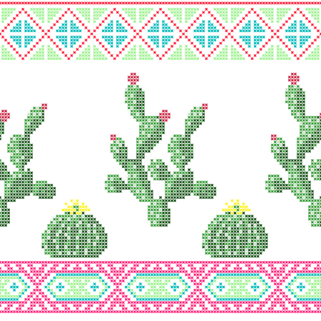 Seamless cross stitches cactuses floral pattern on white background Vettoriali