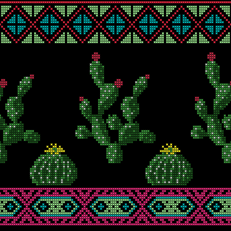 Seamless cross stitches cactuses floral pattern on black background Vettoriali