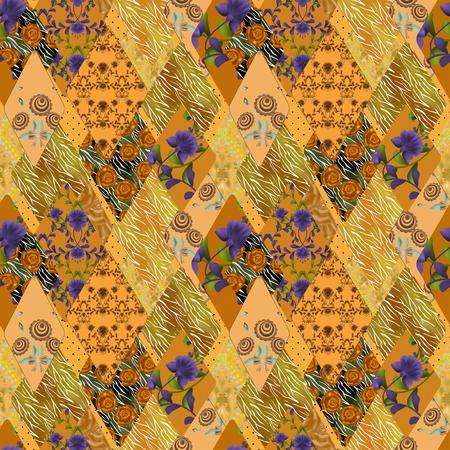 Patchwork orange seamless pattern texture background Stock Photo