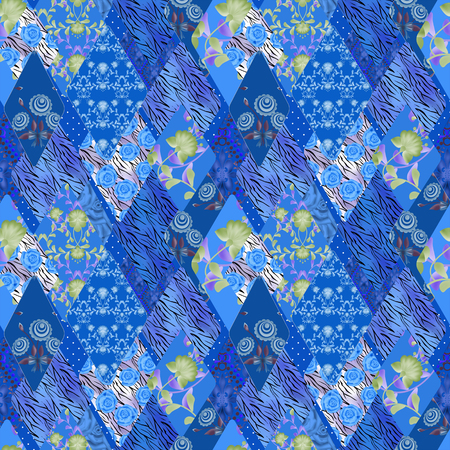 Patchwork blue seamless pattern texture background