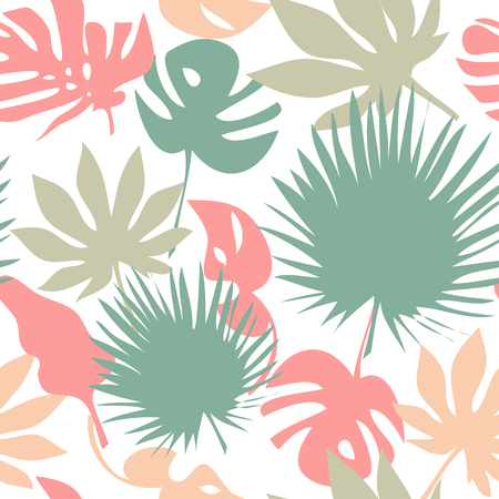 Seamless tropical leaves pattern background Stock Photo