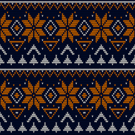 Seamless knitted Christmas retro pattern background Stock Photo