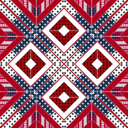 Abstract american patchwork pattern with stars and stripes Stock Photo