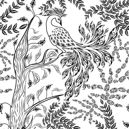 Seamless fairy fantasy garden forest bird sketched pattern background Vector Illustration