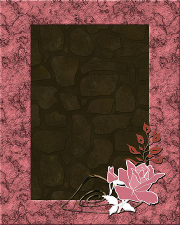 Stone frame brown beige print photo frame with pink rose Stock Photo