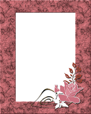 Stone frame pink print photo frame marble effect with pink rose
