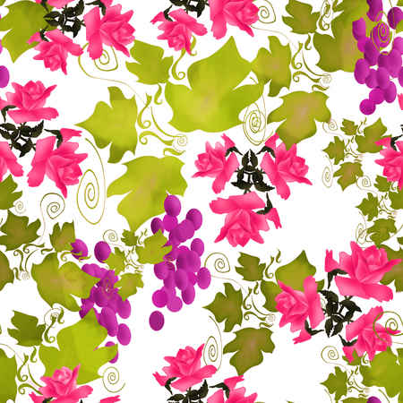 Seamless pattern with roses and grape on white background