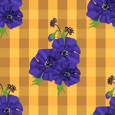 Seamless floral violet navy flowers orange checkered plaid background