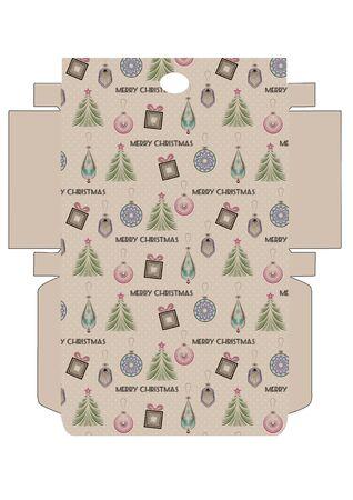 Favor printable template box packing, print and cut, Merry Christmas art deco design Reklamní fotografie