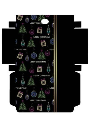 Favor printable template box packing, print and cut, Merry Christmas art deco design Фото со стока