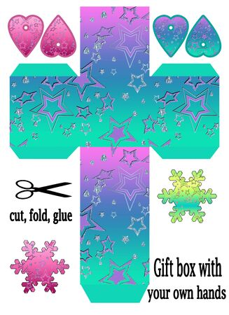 Favor printable template box packing, print and cut, glitter stars design