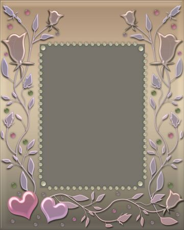 Frame pearl hearts Valentines Day pastel colors banner Stockfoto