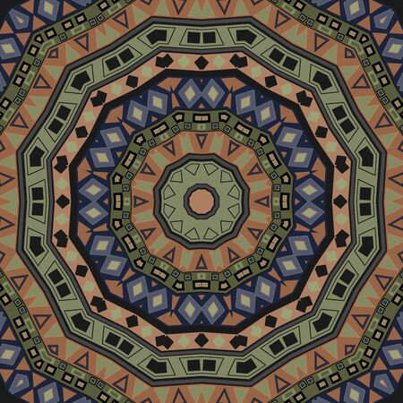 Abstract seamless folk ethno pattern mandala round background