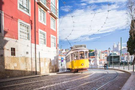 Yellow 28 tram in Alfama, Lisbon, Portugal Stock Photo