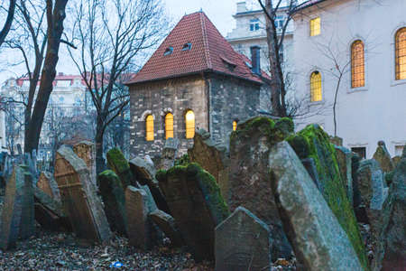 Old Jewish Cemetery in Prague Czech Republic. An important Jewish monument and one of the largest cemeteries of it's kind