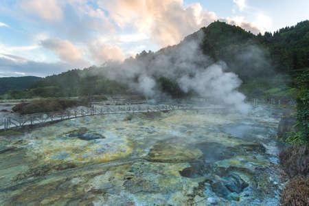 Geothermal cooking in Fumarolas da Lagoa das Furnas on Sao Miguel island, Azores Standard-Bild